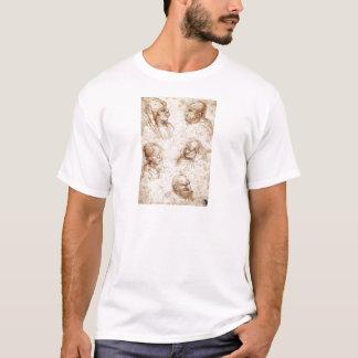 Cinco cabeças da caricatura por Leonardo da Vinci T-shirts