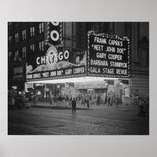Cinema de Chicago, 1941. Foto do vintage Poster