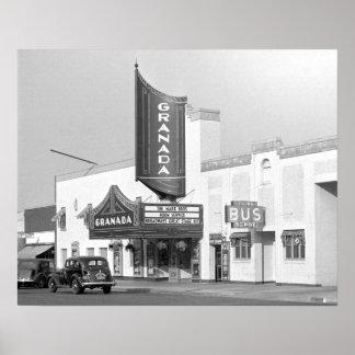 Cinema de Granada, 1938. Foto do vintage Pôster