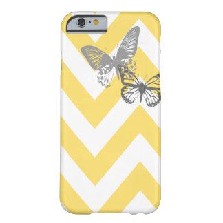 Cinza amarelo do caso | do iPhone 6 das borboletas Capa iPhone 6 Barely There