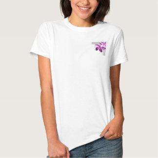 Cinza e Plumeria da beringela Camiseta