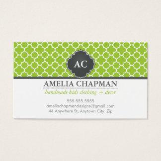 Cinza morrocan do verde limão do teste padrão do cartão de visitas