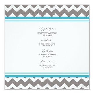 Cinzas azuis Chevron do menu do casamento Convite Quadrado 13.35 X 13.35cm
