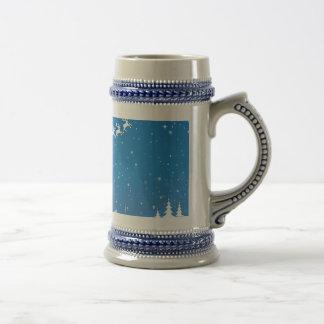 Cinzas/azul do Natal do inverno caneca de cerveja