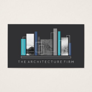 Cinzas & azul geométricos da arquitetura cartão de visitas