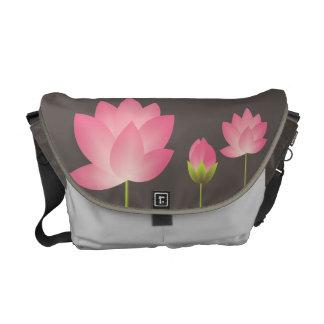 Cinzas de ardósia modernas da flor cor-de-rosa das bolsas mensageiro