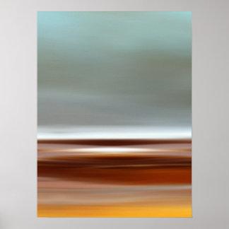 Cinzas de Brown azul da paisagem do céu da praia d Poster