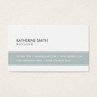 Cinzas e branco simples lisos elegantes cartão de visitas