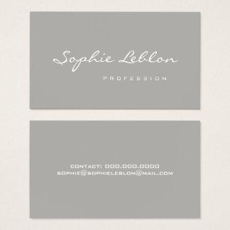 cinzas lisas elegantes & simples minimalistas cartão de visitas