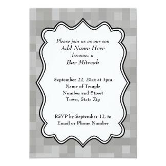 Cinzas modeladas, bar preto e branco Mitzvah Convite 12.7 X 17.78cm