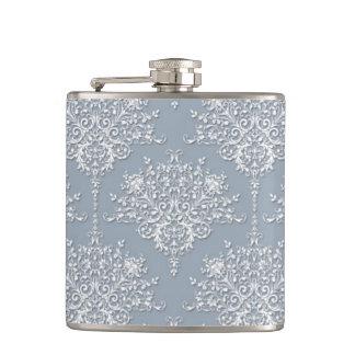 Cinzento do damasco floral feminino extravagante e