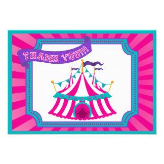 Circo ou barraca do carnaval - obrigado cartões convites personalizado