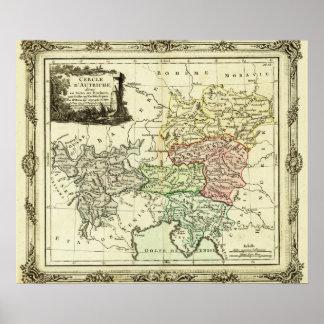 Círculo austríaco do mapa santamente do império ro impressão