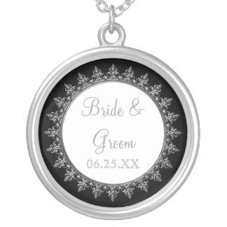 Círculo barroco clássico do redemoinho da jóia colar banhado a prata