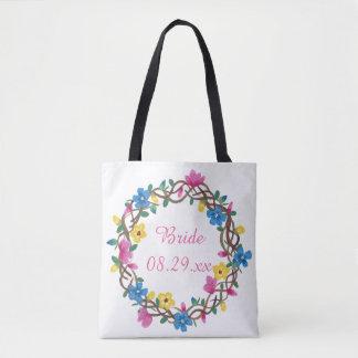 Círculo colorido de sacolas da noiva das flores bolsas tote