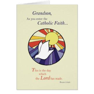 Círculo de Sun da pomba do católico do neto RCIA, Cartão Comemorativo