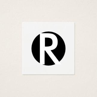 Círculo preto inicial corajoso do monograma mínimo cartão de visitas quadrado