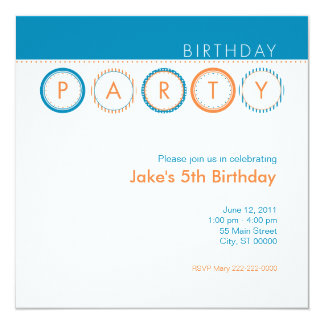 Círculos do partido - azul & laranja convite quadrado 13.35 x 13.35cm