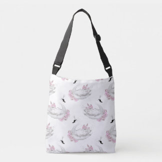 Cisne branca na moda com teste padrão de flores bolsas carteiro