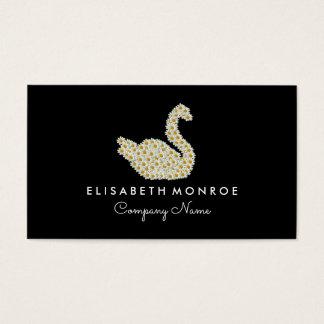 Cisne floral da margarida cartão de visitas