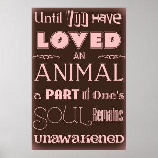 Citações Brown do amante dos animais e poster cor-
