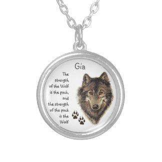 Citações da força da família do bloco de lobo, colar banhado a prata