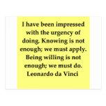 citações de Leonardo da Vinci Cartao Postal