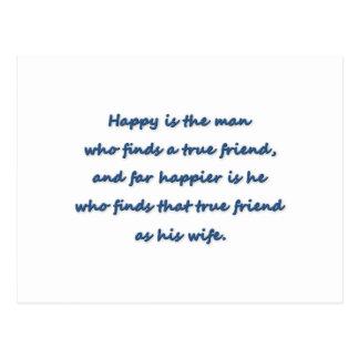 Citações do aniversário - felizes é o homem que cartão postal