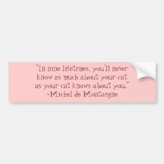 Citações do gato de Michel de Montaigne Adesivo Para Carro