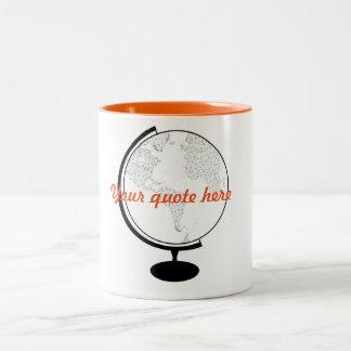 Citações do globo DIY Caneca De Café Em Dois Tons