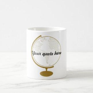 Citações do globo DIY do ouro Caneca De Café