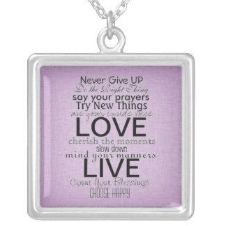 Citações e provérbios inspirados colar com pendente quadrado