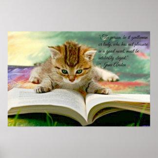 Citações engraçadas de Jane Austen e poster do gat