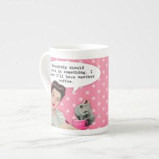 Citações engraçadas do café bone china mug