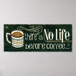 Citações engraçadas do café poster