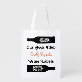 Citações engraçadas do vinho do clube de leitura sacola ecológica para supermercado