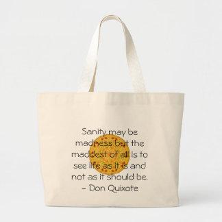 Citações inspiradas de Don Quixote Bolsa Tote Grande