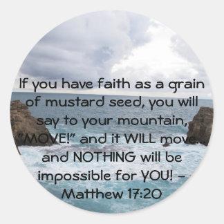Citações inspiradores da bíblia do 17:20 de adesivo