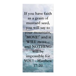 Citações inspiradores da bíblia do 17:20 de Matthe 10.16 X 22.86cm Panfleto