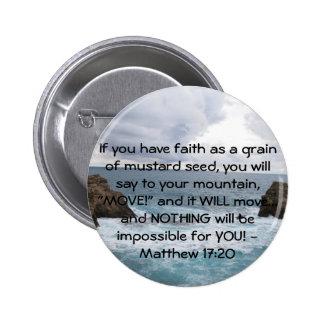 Citações inspiradores da bíblia do 17:20 de Matthe Bóton Redondo 5.08cm