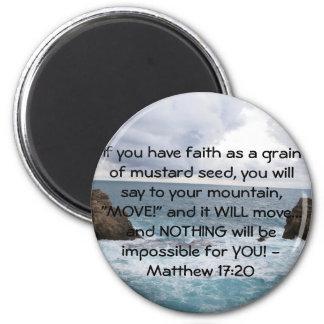 Citações inspiradores da bíblia do 17:20 de Matthe Ímã Redondo 5.08cm