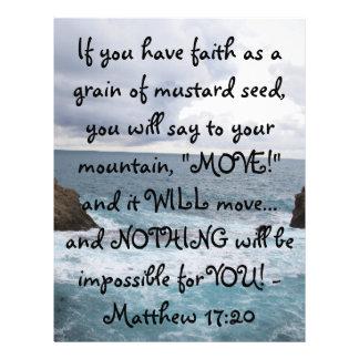 Citações inspiradores da bíblia do 17:20 de Matthe Papel Timbrado