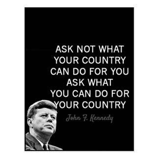 Citações inspiradores de John F. Kennedy Cartão Postal