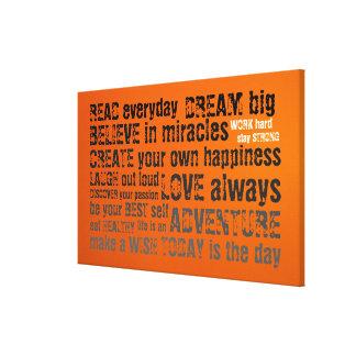 Citações inspiradores impressão em canvas