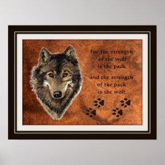 Citações originais do lobo & do bloco da aguarela poster
