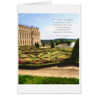 Citações românticas com o cartão do jardim de