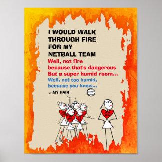 Citações temáticos da equipe engraçada do Netball Poster
