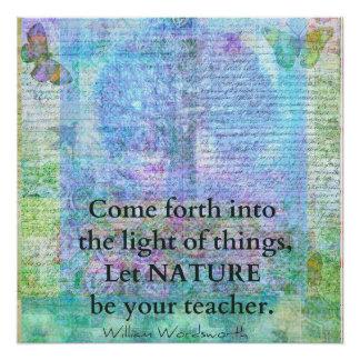 Citações Wordsworth da árvore da natureza Poster Perfeito