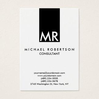 Claro branco do preto atrativo do monograma cartão de visitas