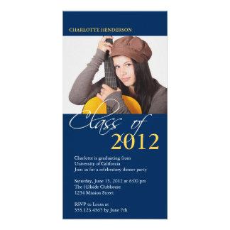 Classe azul de cartão do anúncio da foto da gradua cartão com foto